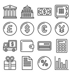 banking and finance icons set line style vector image