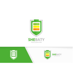battery and shield logo combination energy vector image
