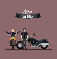 Biker culture poster with pair men in classic vector