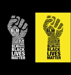 black lives matter fighting fist with words vector image