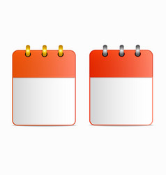 Blank sheet of calendar icon with silver and gold vector