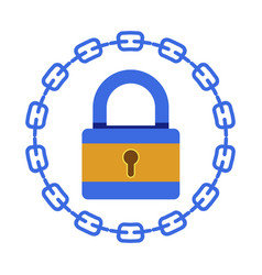 Blockchain system bitcoin or cryptocurrency lock vector