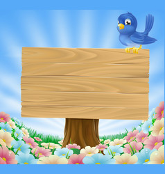 bluebird sitting on wood sign with flowers vector image