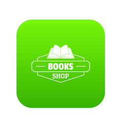 book shop icon green vector image