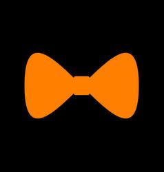 bow tie icon orange icon on black background old vector image vector image
