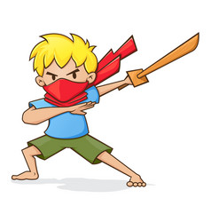 boy holding wooden sword playing ninja vector image