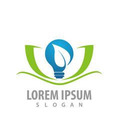 bulb leaf lotus flower logo concept design symbol vector image