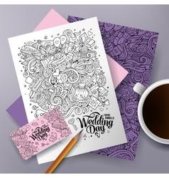 Cartoon doodles Wedding corporate identity set vector image