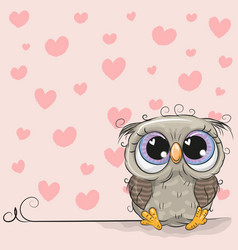 Cartoon owl on a background of hearts vector
