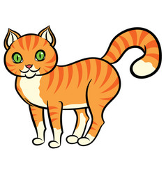 cartoon red cat with stripes vector image vector image