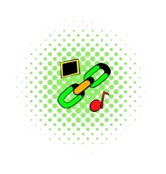 Chain link icon comics style vector