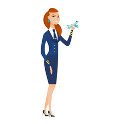 Cheerful stewardess with model of airplane vector