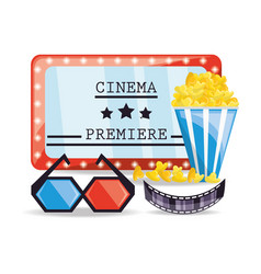 cinema ticket with popcorn and 3d glasses vector image