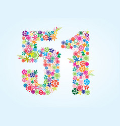 Colorful floral 51 number design isolated on vector
