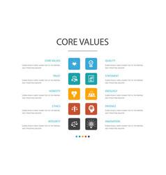 Core values infographic 10 option concepttrust vector