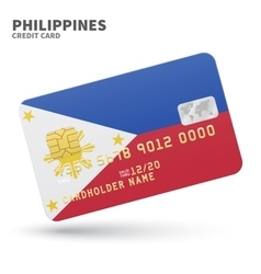 Credit card with Philippines flag background for vector