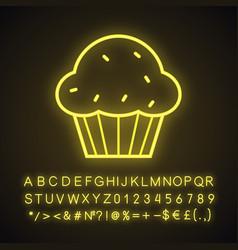 cupcake neon light icon vector image