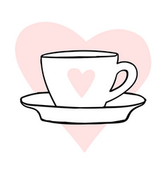 cups mug heart love hand drawn style doodle vector image