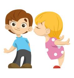 Cute couple of kids girl kisses a boy valentika vector