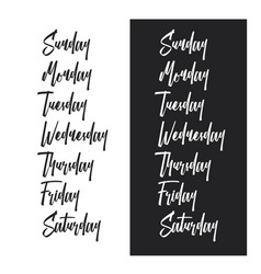Days of the week typography set vintage vector