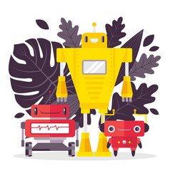 different character robot to help people isolated vector image