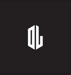 Dl logo monogram with hexagon shape style design vector