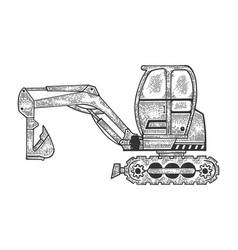 Excavator machine sketch engraving vector