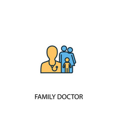 family doctor concept 2 colored line icon simple vector image