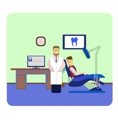 Flat colorful dentist patient and dental tools vector