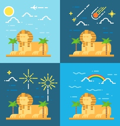Flat design 4 styles of Sphinx of Giza Egypt vector