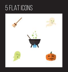 Flat icon halloween set of broom phantom ghost vector