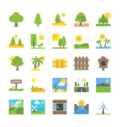 Flat icons set of landscape and nature vector