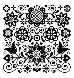 Folk art retro pattern scandinavian design vector