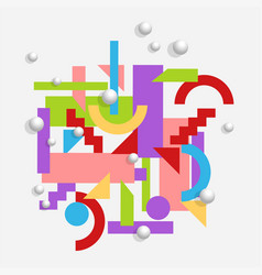 geometric background in cubism style with 3d vector image