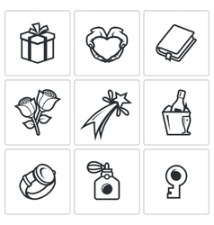 Gifts for women on holiday icons set vector image