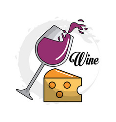 Glass splashing wine with cheese icon vector