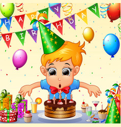 happy kid celebrating birthday vector image