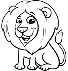 Happy lion animal character cartoon color book vector
