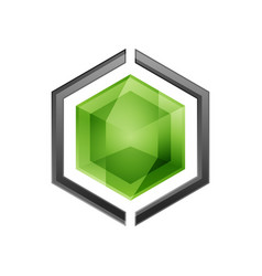 hexagon abstract logo vector image