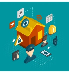 Home security isometric icons vector