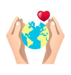 human hands holding globe vector image
