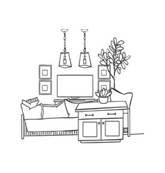 Interior design sketch modern white living room vector