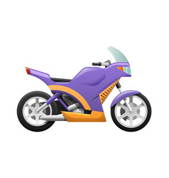 Isolated violet motorcycle with wavy orange lines vector