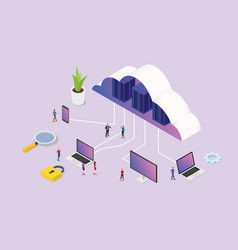 isometric 3d cloud computing concept with team vector image