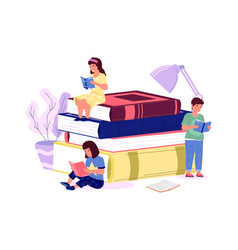 Kids with books cartoon boys and girls read home vector