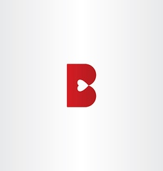 letter b with heart inside logo icon vector image