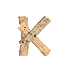 letter k wood board font plank and nails alphabet vector image