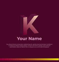 Logotype alphabet 3d logo letter k monogram logo vector