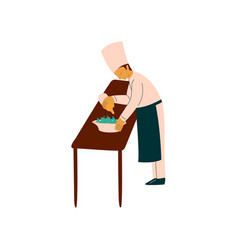 Male chef cook preparing delicious dish vector