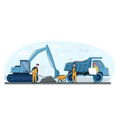 male workers in yellow overalls remove soil vector image